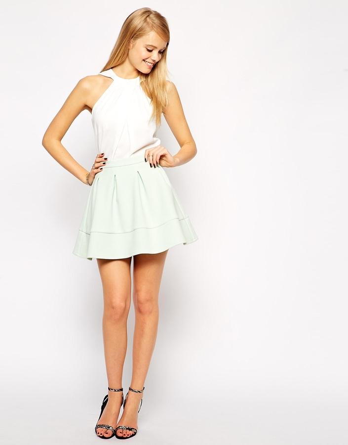 57ad9007e3 ... Skirts Asos Collection Full Textured Skater Skirt ...