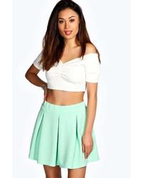 Boohoo Dani Jacquard Waffle Box Pleat Skater Skirt
