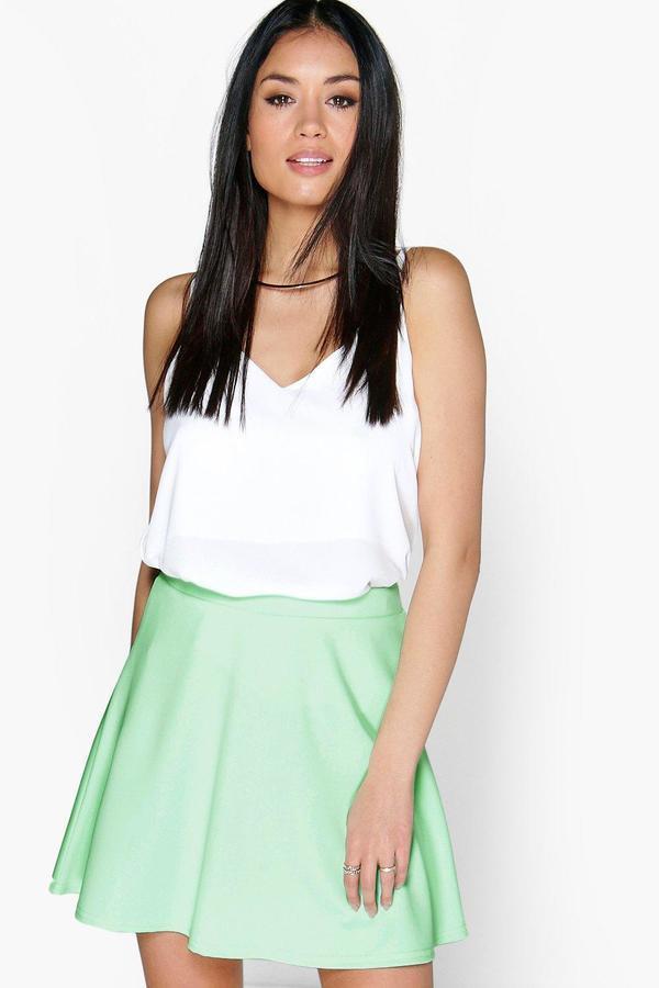 9aa2244274437 Boohoo Roseanna Fit And Flare Skater Skirt, $14   BooHoo   Lookastic.com
