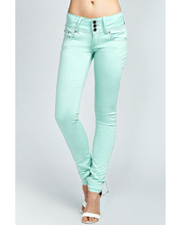Boohoo Trixie 3 Button Front Super Stretch Denim Jeans