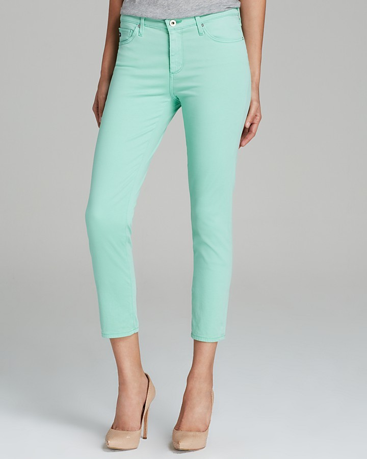 2210e11ffc31 ... AG Adriano Goldschmied Jeans Prima Crop In Mint Green ...