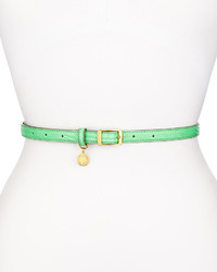 Stella McCartney Snake Embossed Faux Leather Belt Green