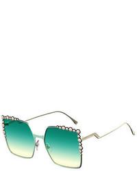 Fendi Can Eye Studded Oversized Square Sunglasses