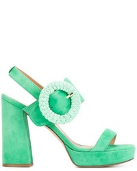 Mint Suede Heeled Sandals