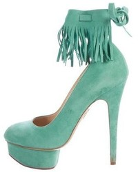 Suede leather platform pumps medium 6860909