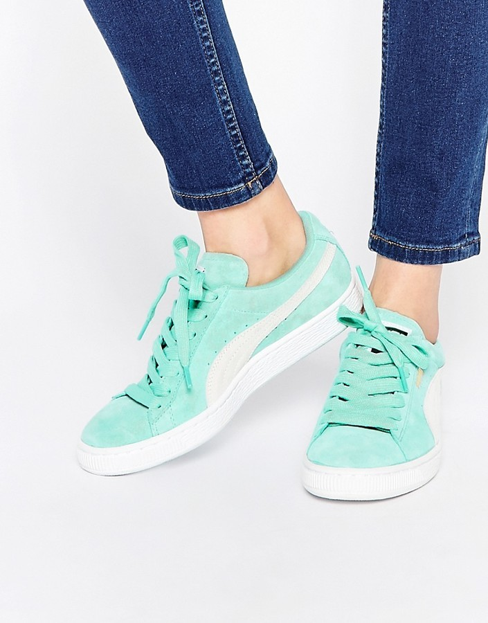 Puma Mint Green Suede Basket Sneakers