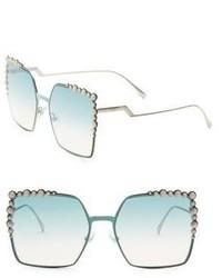 Fendi 60mm Oversize Crystal Trim Square Sunglasses