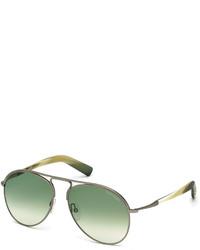 Tom Ford Cody Shiny Antique Metal Aviator Sunglasses Whitegreen