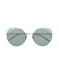 For Art's Sake Fruity Cat Eye Silver Tone And Acetate Sunglasses