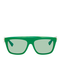 Bottega Veneta Green Rectangular Sunglasses