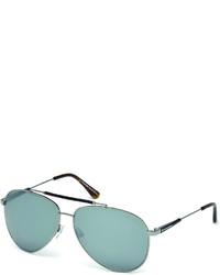 Tom Ford Rick Aviator Sunglasses In Shiny Metal