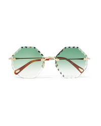 Chloé Rosie Octagon Frame Gold Tone Sunglasses