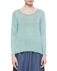 Eileen Fisher Long Sleeve Linen Delave Box Top
