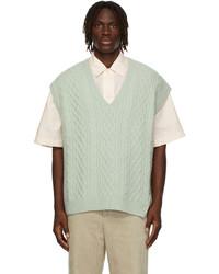 Solid Homme Wool Cableknit V Neck Vest