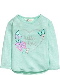 H&M Knit Sweater With Motif Mint Greenbutterflies Kids