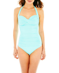 Liz Claiborne Shirred Halter 1 Piece Swimsuit