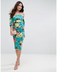 c2236bad823741 Asos Textured Green Floral Fluted Sleeve Midi Dress, $60 | Asos ...