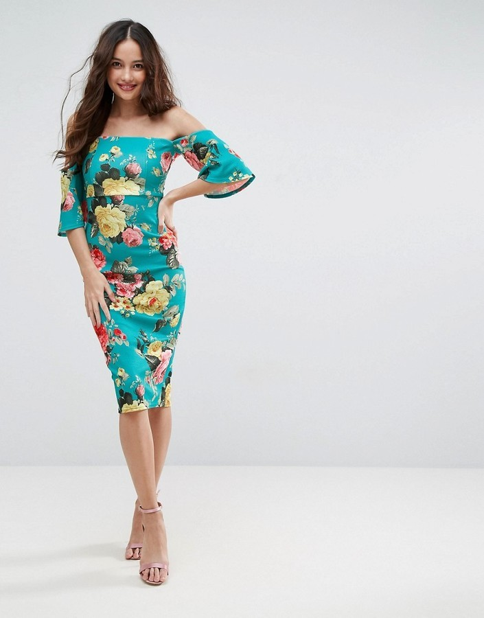 025da2cdecbcfc ... Mint Textured Midi Dresses Asos Textured Green Floral Fluted Sleeve Midi  Dress ...