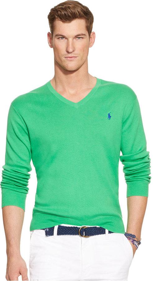 bd4dcee0 Polo Ralph Lauren Pima V Neck Sweater, $98 | Macy's | Lookastic.com