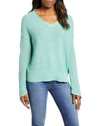 Caslon Tuck Stitch V Neck Sweater