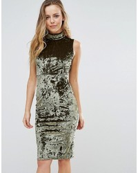 Wal G High Neck Velvet Bodycon Dress