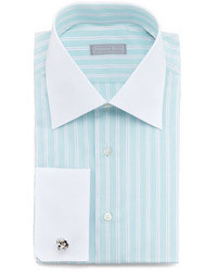Mint Vertical Striped Dress Shirt