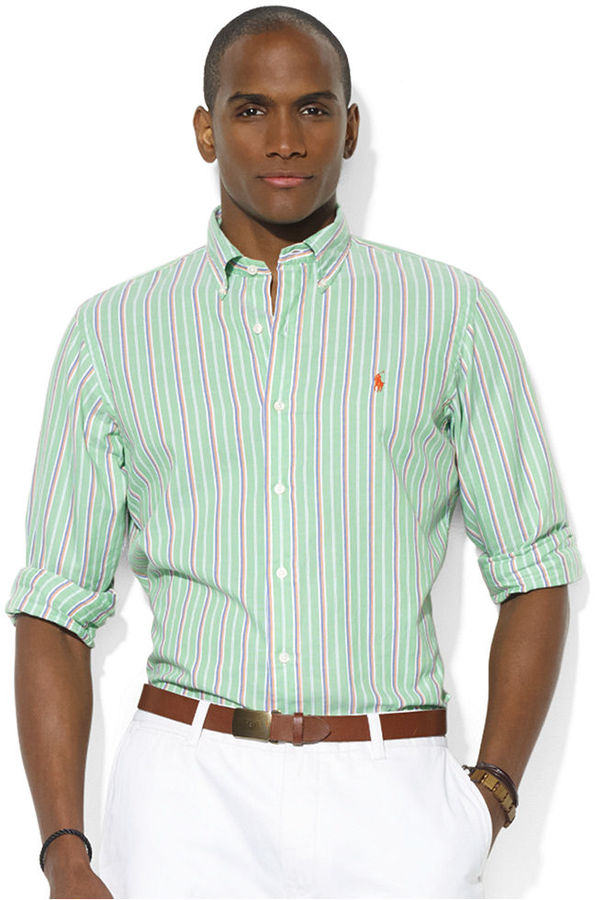 ... Dress Shirts Polo Ralph Lauren Custom Fit Long Sleeve Striped Oxford Sport Shirt