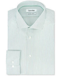 Calvin Klein Steel Non Iron Slim Fit Mint Green Stripe Dress Shirt