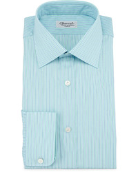 Charvet Striped Barrel Cuff Dress Shirt Greenblue