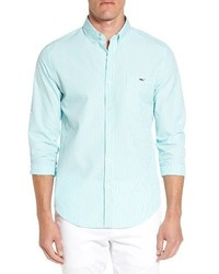 Mint Vertical Striped Long Sleeve Shirt