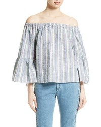 See by Chloe Seersucker Off The Shoulder Top