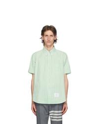 Thom Browne Green Seersucker Short Sleeve Shirt