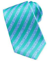 Kiton Large Stripe Silk Tie Bluegreen