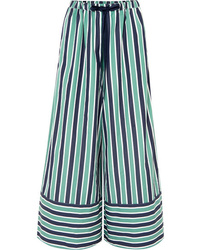 Fendi Striped Cotton Poplin Wide Leg Pants