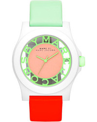 Marc by Marc Jacobs Colorblock Henry Skeleton Watch With Leather Strap Whitemintcoral
