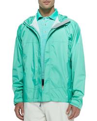 Peter Millar Owen 25 Layer Hooded Rain Jacket Green