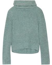 Ribbed wool turtleneck sweater mint medium 696946