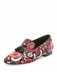 Mocasín con Borlas con print de flores Rosa de Tom Ford