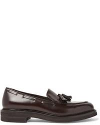 Mocasín con borlas de cuero en marrón oscuro de Brunello Cucinelli