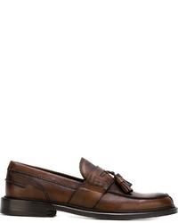 Mocasín con borlas de cuero marrón de Canali