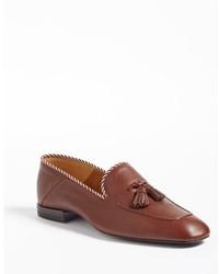 Mocasín con borlas de cuero marrón de Gucci