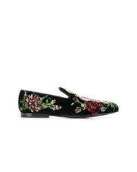 Mocasín de ante bordado negro de Dolce & Gabbana