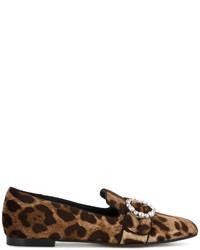 Mocasín de ante de leopardo marrón claro de Dolce & Gabbana