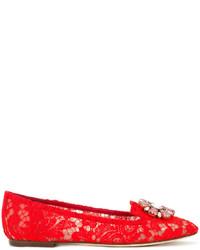 Mocasín de cuero con adornos rojos de Dolce & Gabbana