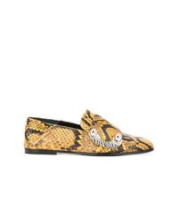 Mocasín de cuero con print de serpiente dorados de Proenza Schouler