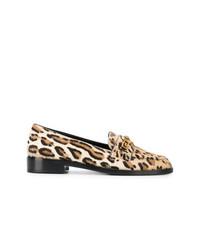 Mocasín de cuero de leopardo marrón claro de Versace