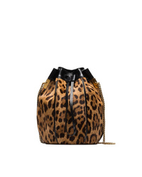 Mochila con cordón de cuero de leopardo marrón de Saint Laurent