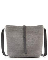 Mochila con cordón de cuero gris de Brunello Cucinelli