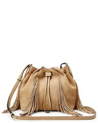 Mochila con cordón de cuero marrón claro de Diane von Furstenberg