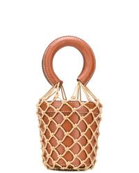 Mochila con cordón de cuero marrón de Staud